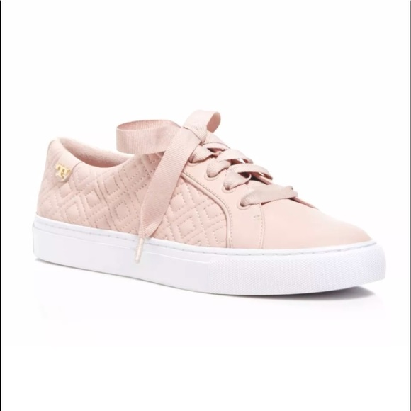 61d279beb4de Tory Burch Marion Leather Quilted Lace Up Sneakers